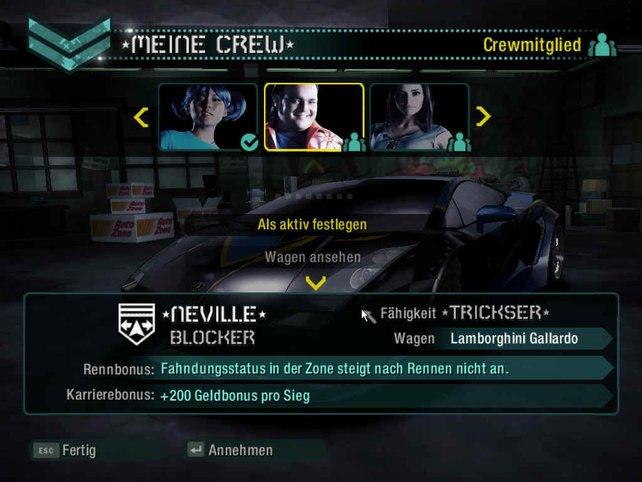 Der Auswahlbidschirm für die eigene Crew