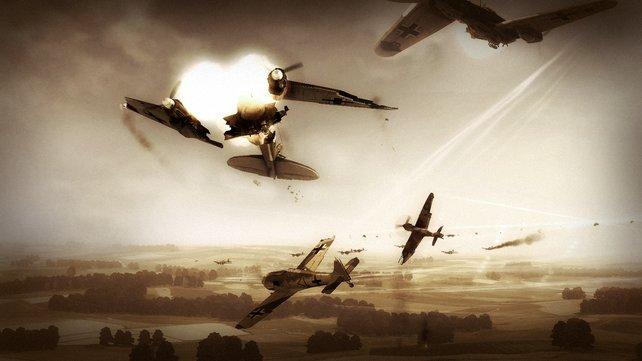 Zusammen mit euren Flügelmännern zerstört ihr die Gegner.