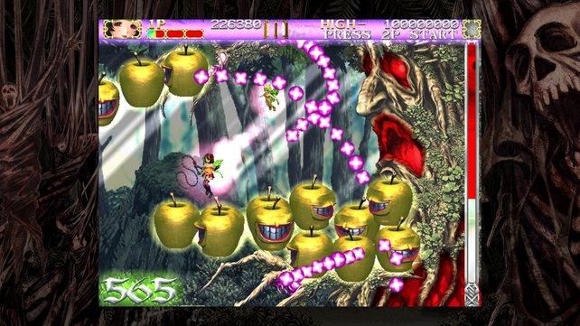 Das ist wohl kein Birnbaum, denn er beschießt Spielfigur Rosa und ihre Begleiter-Drohne mit Äpfeln.