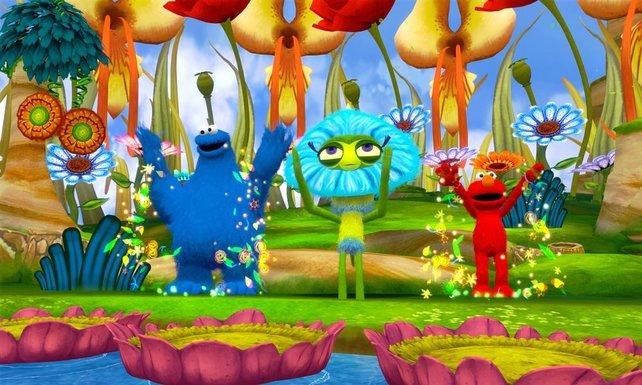 In knallbunten Umgebungen retten das Krümelmonster und Elmo die Welt vor dem Aussterben.