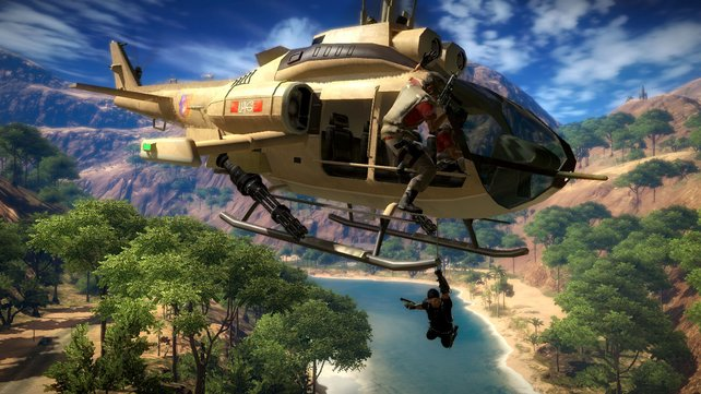 Spiele mit offener Welt (hier Just Cause 2) eignen sich vorzüglich für Stunts.