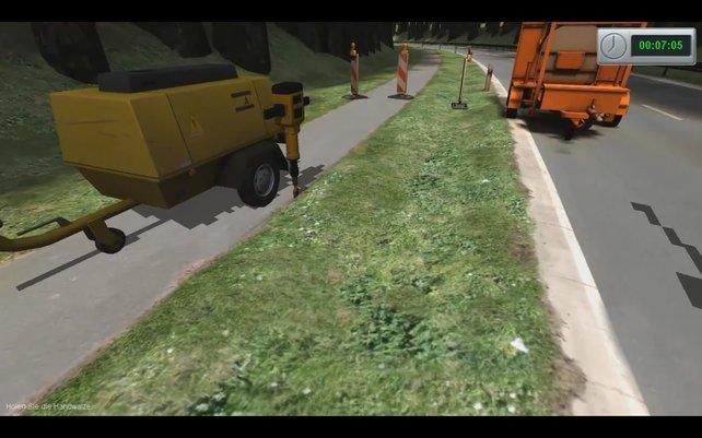 Straßenbau - laut diesen Spiel anscheinend monotoner als Fließbandarbeit.