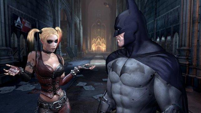 Batman trifft auf die verrückte Harley Quinn.