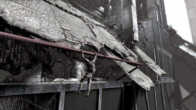 Die Rutschpartie endet an einem Rohr. Von hier aus gelangt ihr vorbei an den Hindernissen.