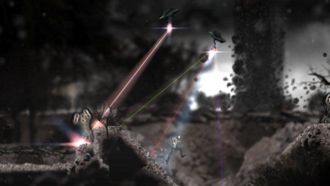Blitzende Laser durchschneiden den Rauch.