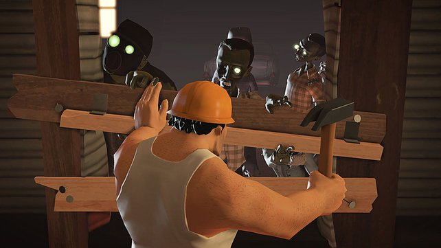 Der bullige Bauarbeiter baut Barrikaden, um den Zombies den Weg abzuschneiden.