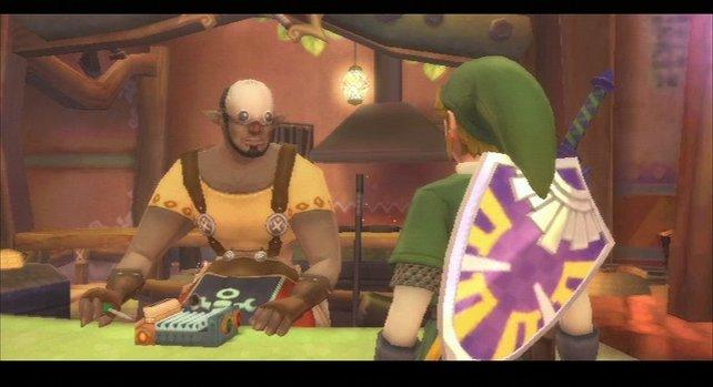 Im Basar kauft Link ein, der Mechaniker wertet Gegenstände auf und repariert beschädigte Schilde.
