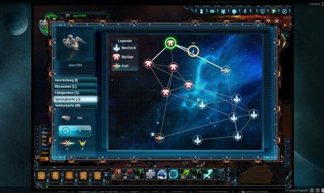 Auf der Sprungkarte sind die verschiedenen Bereiche des Universums gut zu erkennen.
