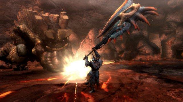 Egal wie groß eure Waffe in Monster Hunter Tri ist: Die Gegner sind größer.
