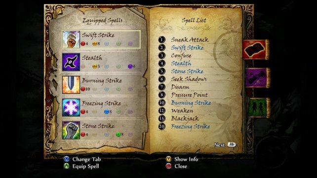 Aus eurem Sprüchebuch nehmt ihr fünf Zauber mit in den Kampf. (Screenshot Xbox360)