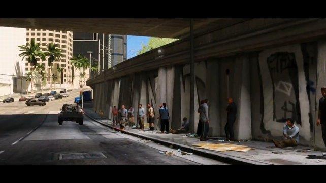 Aufgereihte Arbeitssuchende in Los Santos.
