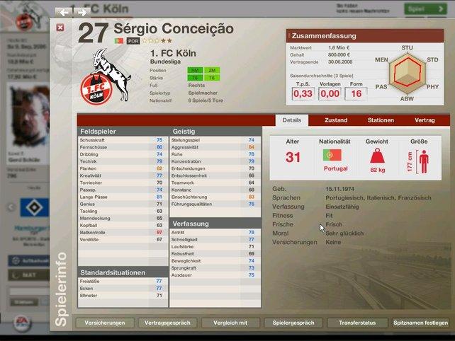 Der Info Bildschirm eines Spielers