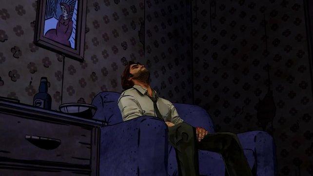 Was für ein Tag! Bigby ruht sich in seiner trostlosen Wohnung ein wenig aus.