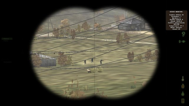 Ein anderer Überlebender auf der Flucht vor Zombies - beobachtet aus sicherer Entfernung.