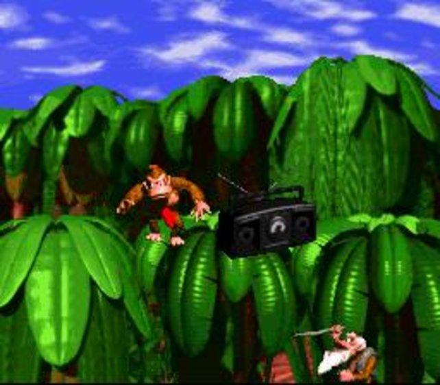 Donkey Kong Country revolutioniert das Jump 'n' Run. Cranky (unten rechts) hält trotzdem nichts davon.