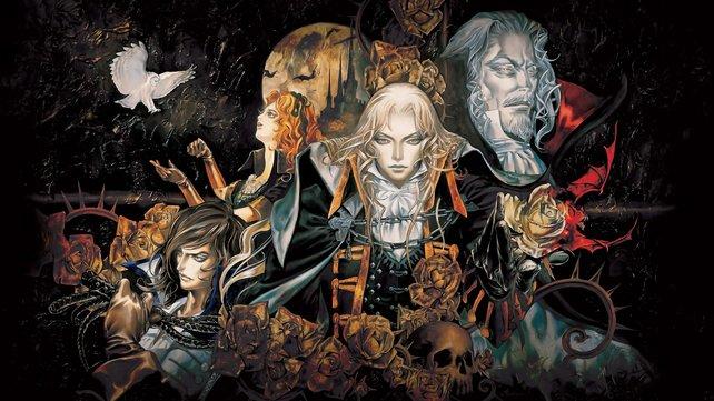 Vereint in der Finsternis: Helden aus Symphony of the Night. Der bleiche Herr rechts oben ist Dracula.