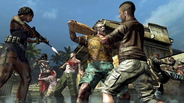 Die Waffenauswahl ist oft absurd. Hier kämpfen die vier alten Helden gegen ein paar Zombies.