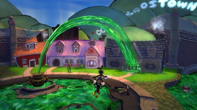 Der zweite Held Oswald fliegt mit Micky im Schlepptau über den Platz.