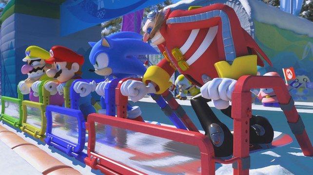 Mario und Sonic treten im Team gegeneinander an.