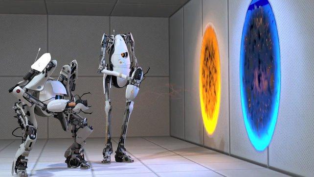 Die beiden Robos sind die Stars von Portal 2.
