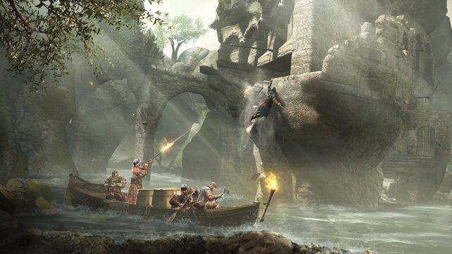 Fernkampf-Waffen sind gefährlich für Ezio.