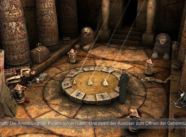 Die richtige Anordnung der Pyramiden lässt eine Tür öffnen.
