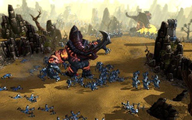 Die Schatten-Fraktion setzt auf Untote, wärhend die Nartur.-Armee Bäume bauen kann.