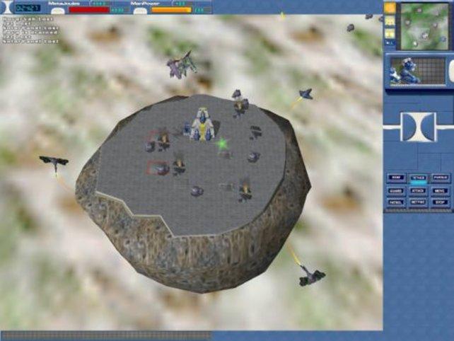 Ein Kampf um einen Asteroiden im Orbit.