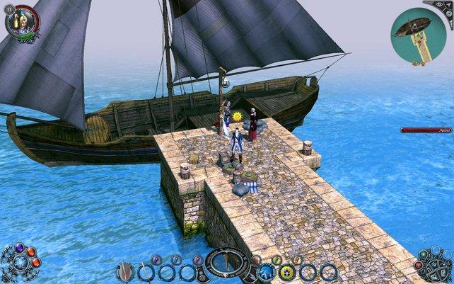 Mit dem Schiff geht es in die neuen Landschaften.