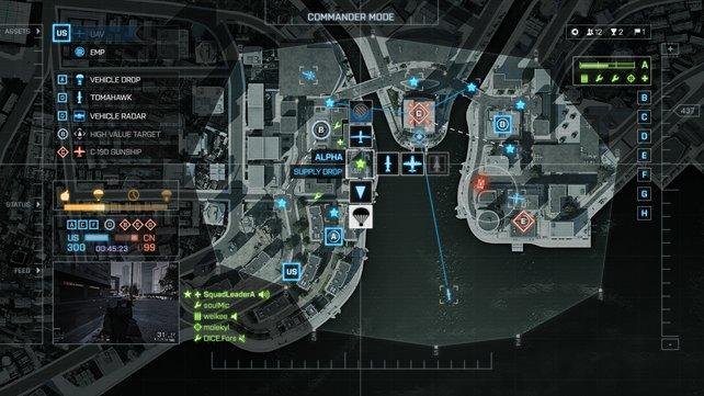 Über die taktische Karte gibt der Kommandant seine Befehle.