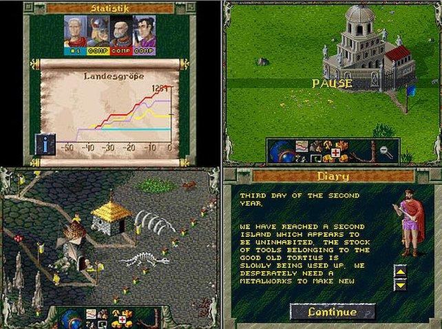 Zwei Bildschirmaufnahmen nebeneinander von Die Siedler auf dem Nintendo DS. Das Spiel erscheint auch in Amerika.