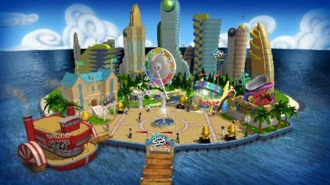 Das Hauptmenü in Form eines interaktiven Vergnügungsparks.