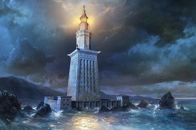 Der Leuchtturm von Alexandria ist eines der sieben Weltwunder, die ihr errichten könnt.
