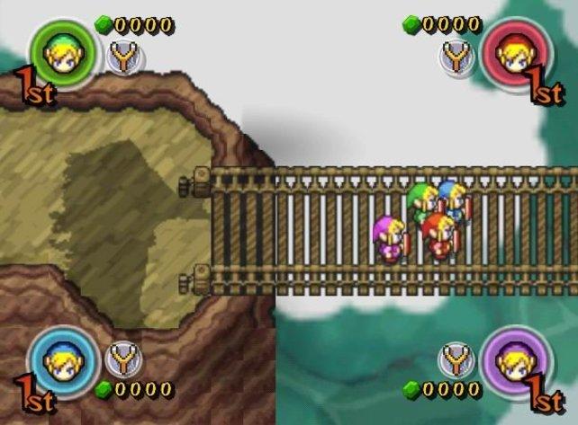 Die Grafik der Spielwelt von Four Swords Adventures ähnelt A Link to the Past - Link sieht aus wie bei Wind Waker.