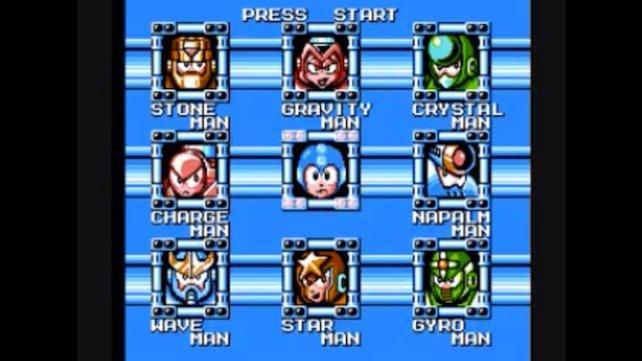 Der klassische Levelauswahl-Bildschirm. Sind alle weg, erscheint Wily in der Mitte.