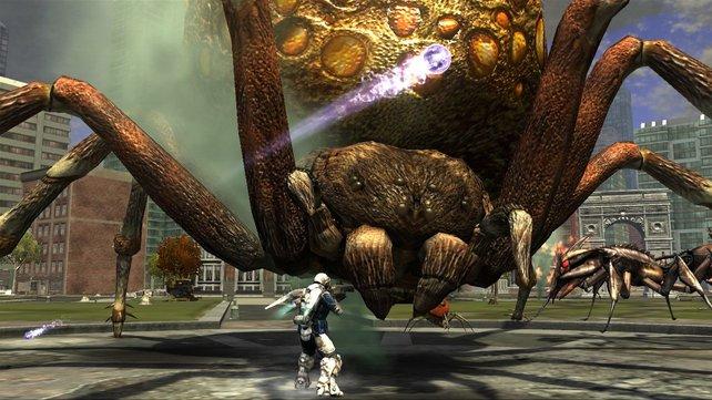 In Earth Defense Force - Insect Armageddon kämpft ihr in der kooperativen Kampagne gegen außerirdische Insekten.