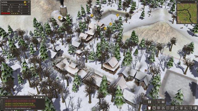 Hoffentlich habt ihr mit Hütten, Kleidung und Nahrung für den Winter vorgesorgt.