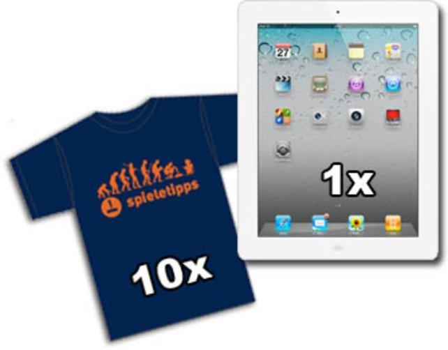 Als Hauptgewinn wartet ein iPad 2, für die Plätze 1 bis 10 gibt es ein spieletipps-Shirt.