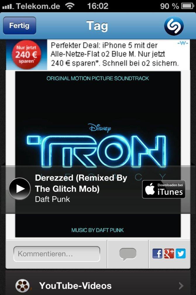 Nach einigen Sekunden identifiziert Shazam viele Songs.