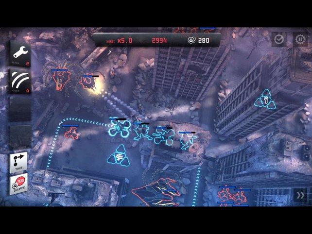 Eure Einheiten nehmen auf ihrem Pfad stationäre Gegner selbsttätig unter Beschuss.