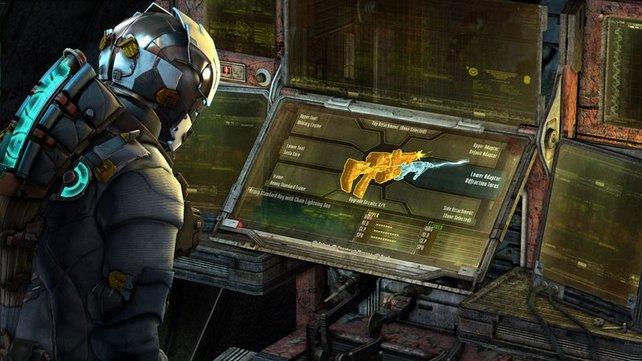 Indem ihr Bauteile und Rohstoffe sammelt, könnt ihr eigene Waffen bauen.