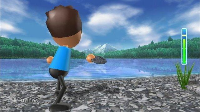 Steine übers Wasser hüpfen lassen, macht fast so viel Spaß wie in der realen Welt.