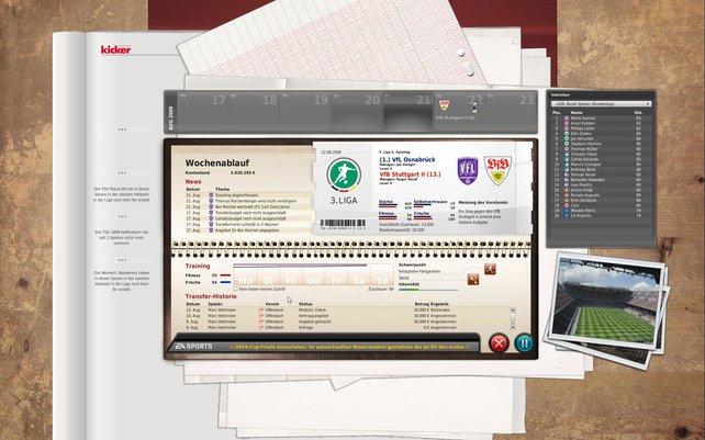 Der Wochenbildschirm klärt euch über Traingingseindrücke oder den Ticketvorverkauf auf.