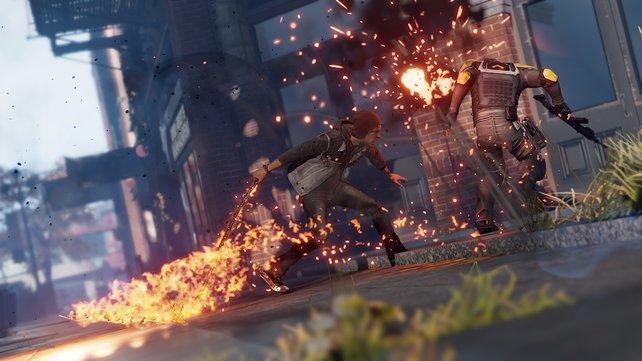 Der neue Protagonist Delsin Rowe erlangt zu Beginn des Spiels eher zufällig seine Superkräfte.