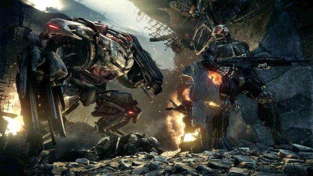 Die Außerirdischen rücken mit schweren Robotern an.