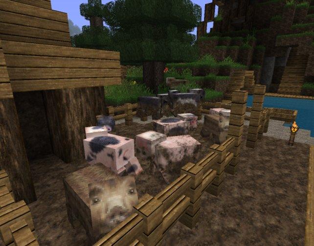 Schweinchen Dick: Mit Mida's Realistic Texture Pack kann man manches Tier viel besser erkennen.