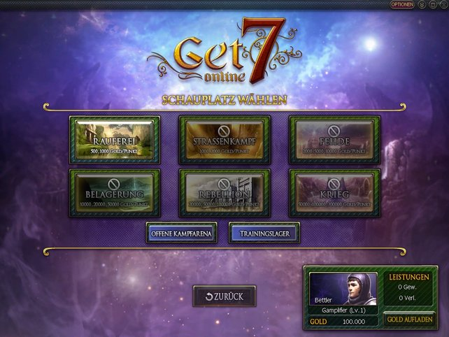 Die sechs Schlachtfelder des Spiels