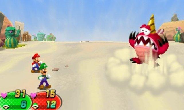 Mario und Luigi treten gemeinsam gegen Ungeheuer an.