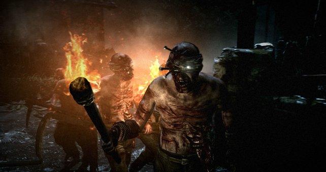 Darf auch nicht fehlen: Ein wütender Zombie-Mob mit Fackeln und Mistgabeln.