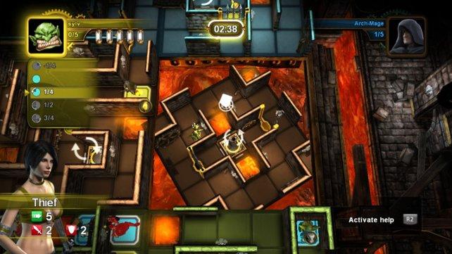 Manche Stellen des Labyrinths könnt ihr taktisch klug drehen.